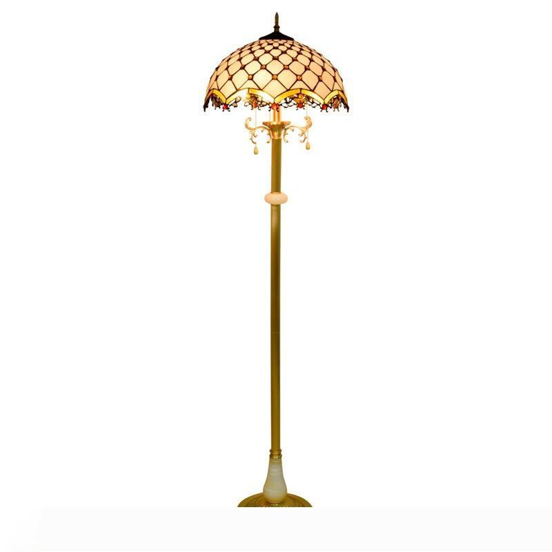 bianco Lampada da terra paralume giada Nordic Tiffany macchiato di rame puro vetro in piedi lampada soggiorno sala da pranzo camera da letto lampada da terra camera TF081
