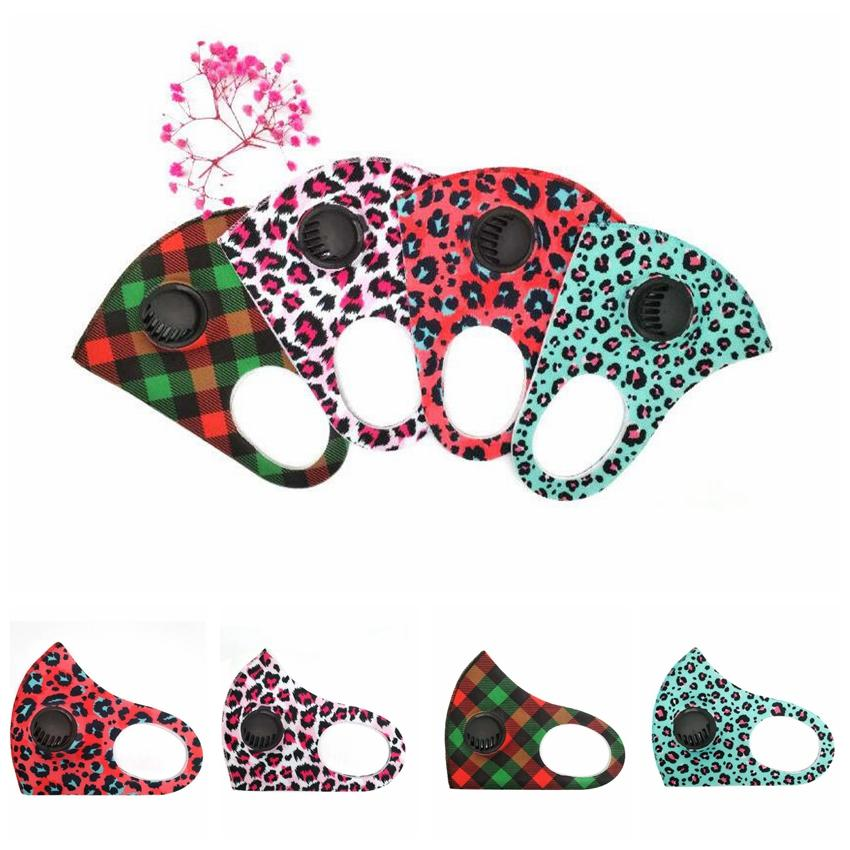 Camo respirazione Valve Mask Maschere leopardo con l'alito valvola adulti Camouflage respirazione valvola Viso copertura riutilizzabile Bocca muffola CCA12385