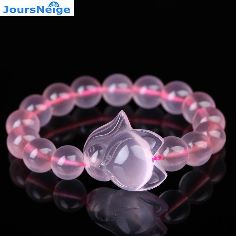 Wholesale Crystal Pink Natural Crystal Bracelets for Women Girl Gifts 10mm Beads With Fox Natural Stone Crystal Trendy Jewelry
