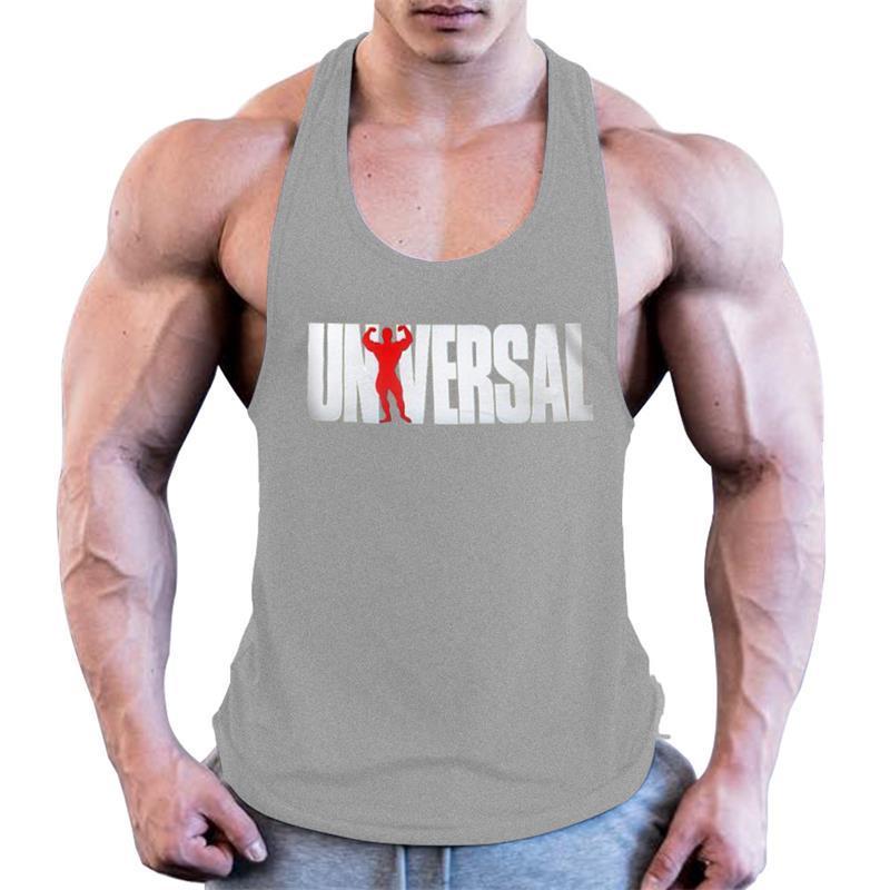 Stampa Palestra Uomini senza maniche Esecuzione Bodybuilding Canotta Muscle Stringer shirt Fitness traspirante allenamento Sport Vest Abbigliamento
