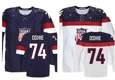 2016 New, 2015 Customize Olympic T.J. Oshie USA Jersey Stitched Sochi 2015 Team USA 74 TJ Oshie Olympic Jersey American Hockey Jersey