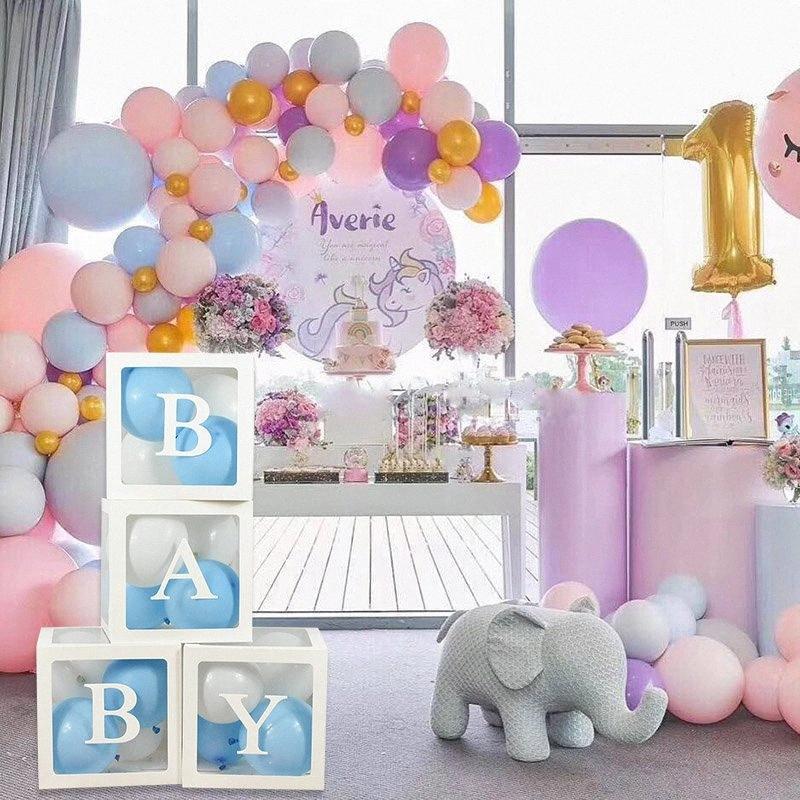 4pcs / set Baby Love Bianco Trasparente Balloon Scatole Storage Box Wedding Balloon Scatole Baby Shower Birthday Party Decoration favore w8pG #