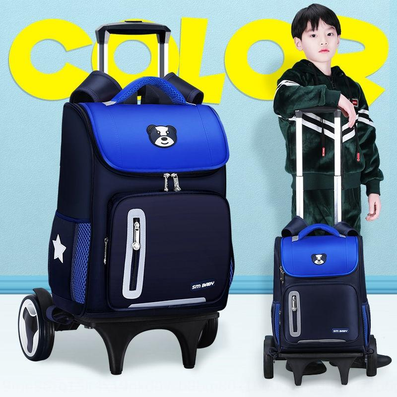 Pull rod bag male primary school students Mop children Grade 1-3-6 girl six-wheel waterproof hand push-pull type mop case with wheels