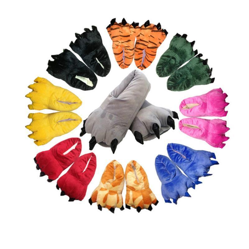 2020 nuevo de las mujeres de invierno zapatillas calientes Inicio Indoor Shoes For Kids dinosaurio Mujeres Hombres de invierno divertido zapatillas para los hombres