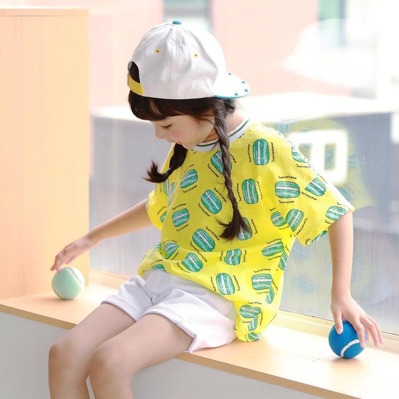 T-shirt T-shirt de manga curta roupas roupas roupas de verão xfxsK J4866 meninas 2020 nova celebridade on-line das crianças macaron impresso topo p