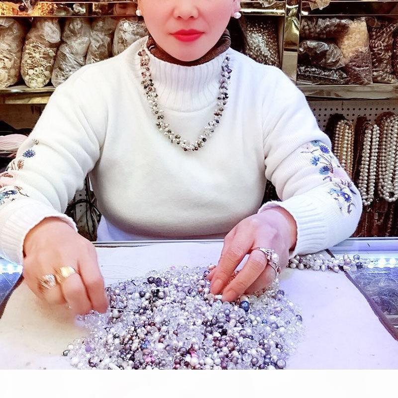 Chaîne d'origine naturelle perle en argent sterling pierres précieuses à cadeau pour Party Femmes Long Collier MX190713