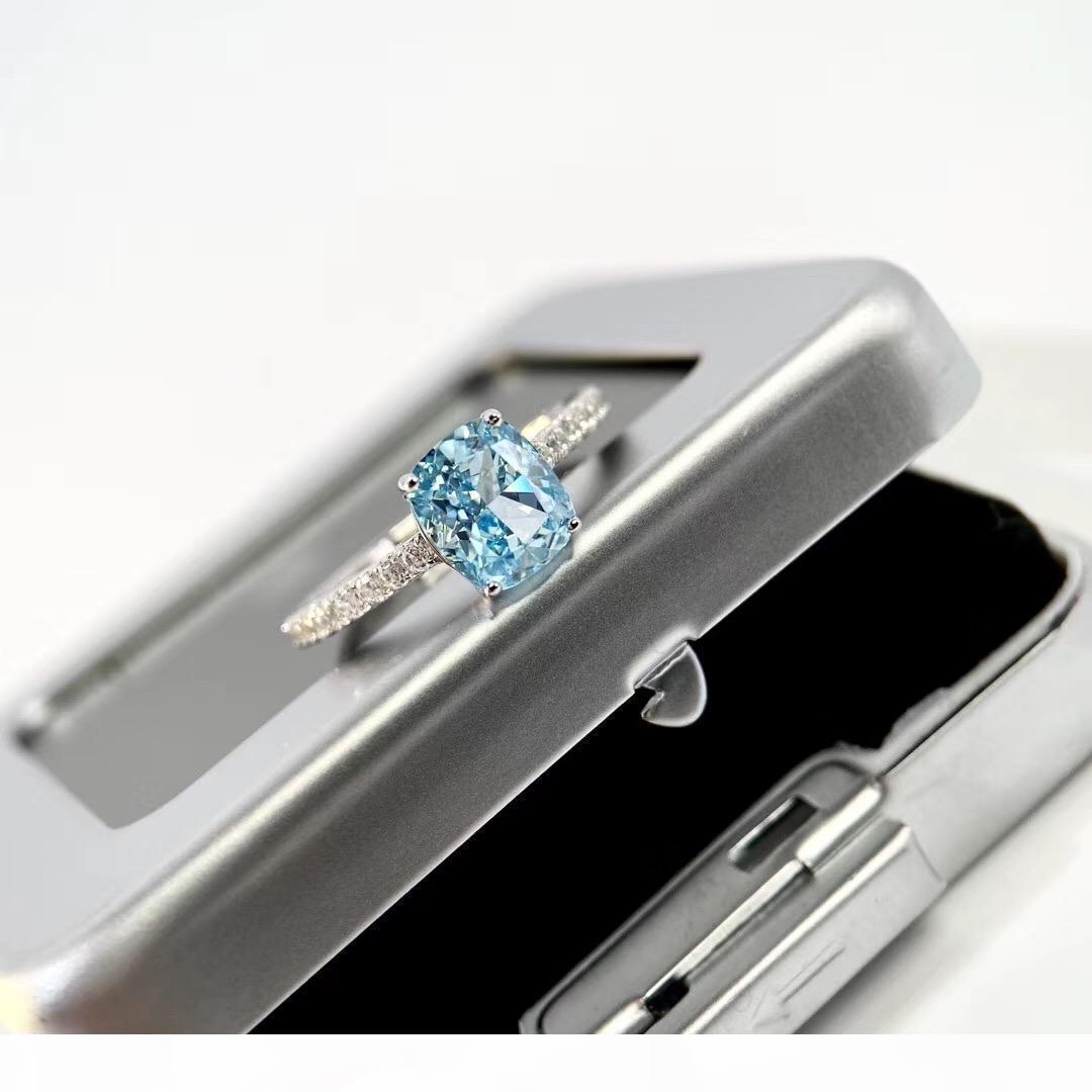 S925 الفضة الاسترليني الفاخر نوفو الأزرق حجم 1.5oct كبيرة مربع الماس تزيين سحر عصابة المجوهرات يوم عيد الميلاد هدية PS6424