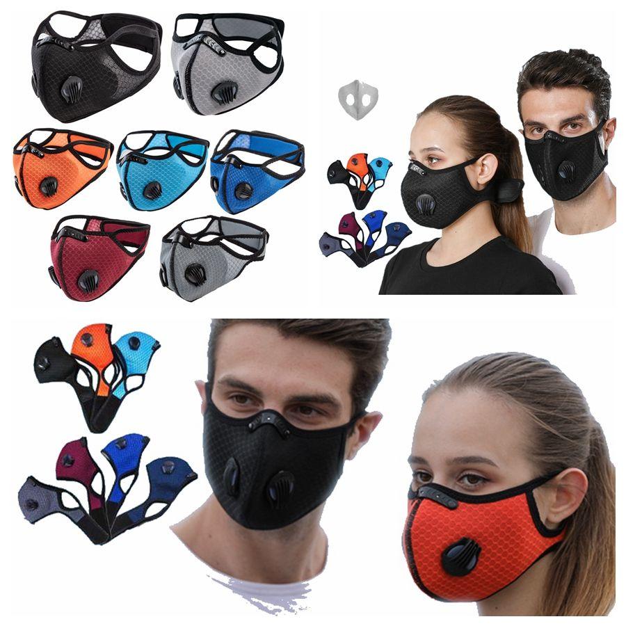 Filtre RRA3383 Çift Nefes Vana PM2.5 Antifog Anti Toz Koruyucu Maske Tasarımcı Yüz Maskeleri ile Doğa Sporları Bisiklet Maskeleri