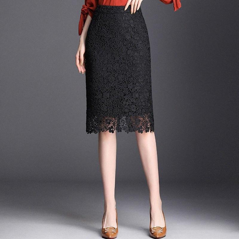 Primavera Verano 2019 Estilo Negro mujer de la alta cintura del cordón de la falda del lápiz de Corea Slim Fit ajustado de la falda de Midi elegante Office Lady mgGb #