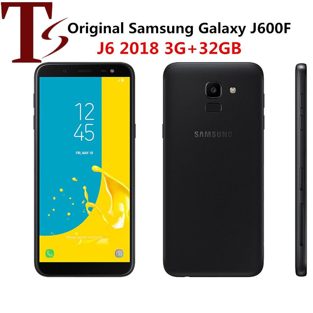 "rénové Samsung Galaxy J6 2018 J600F Original déverrouillé LTE mobile Android Phone Exynos Octa noyau 5.6"" 13MP 3 Go de RAM ROM 32 Go NFC"