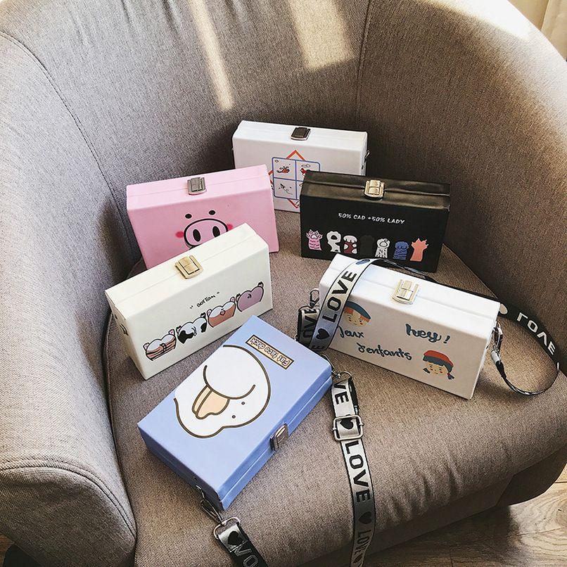 Animal Designer Harajuku stampa Casella Bag Pig Borse spalla larga tracolla Messenger Bag Plain partito casuale della frizione Borsa Femenino