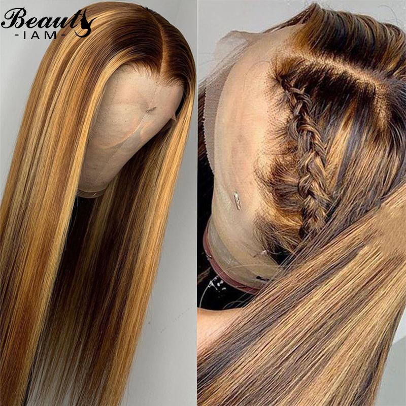 Прямые кружевные фронтальные волосы парик волос выделяют цветные волосы для волос 4/27 предварительно сорванный коричневый кружевной фронт с волосами младенца