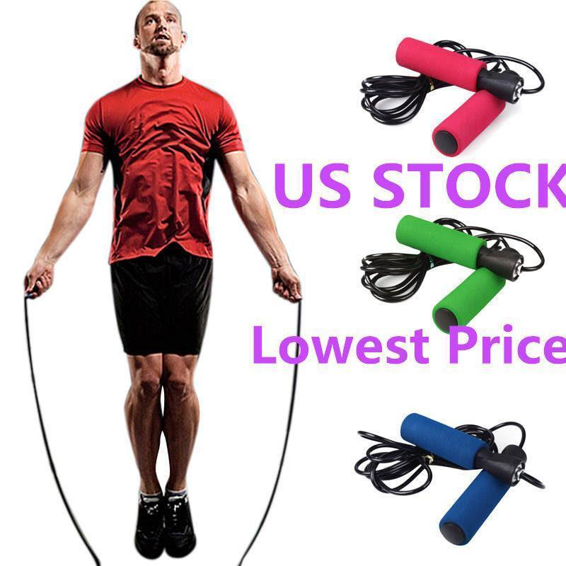 US STOCK, coloré exercice aérobie Boxe Saut à la corde Saut à la corde réglable Roulement Speed Fitness Noir Unisexe Hommes Jumprope