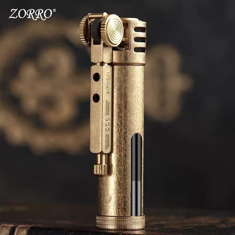 2020 zorro rétro silex briquet laiton kérosène free pompier légère éolitieuse huile de meulage roue cigarette tuyau de tuyau de tuyau de tuyau homme cadeau sans huile
