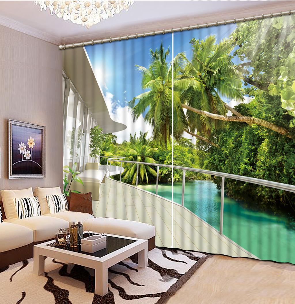 3D personalizada cortina de la ventana hermoso paisaje de coco cortinas de árboles en 3D cortinas opacas cortinas de salón dormitorio