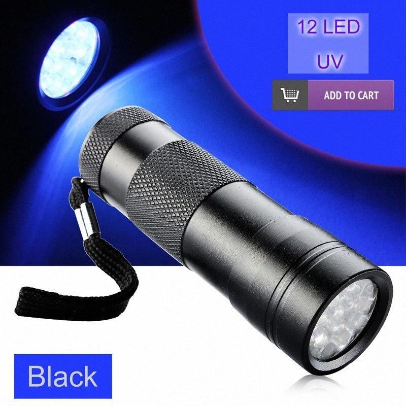 UV 395 400nm LED alluminio invisibile Urina inchiostro Pet Detector 12 LED UV Viola Viola Torcia luce 3xAAA 9U7T #