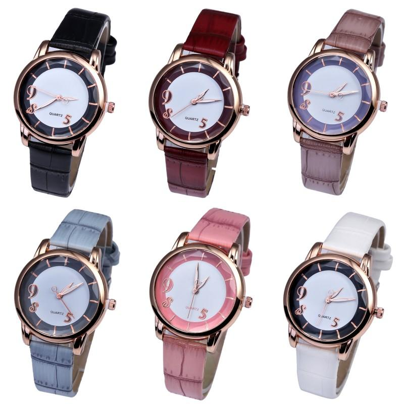 Wholesale 6 Colors Girls Simple PU Leather Band Watch Analog Quartz Wrist Watches Women Fashion Accessories Gifts