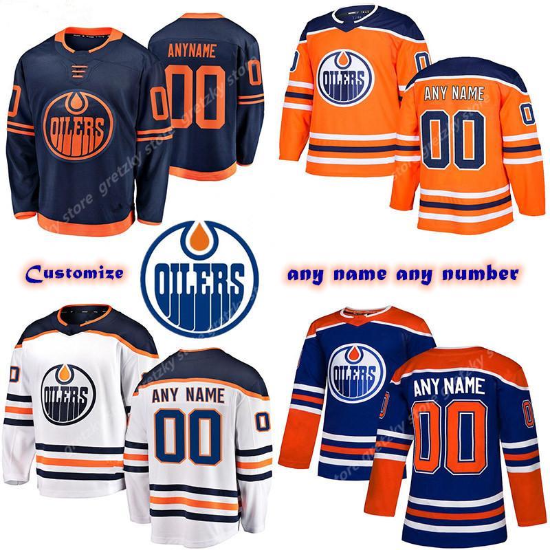 Mulher Kids Femininos Personalizado de Edmonton Oilers jérseis 97 Connor McDavid 74 Ethan Urso 44 Kassian Personalizar qualquer número qualquer jérsei conhecido hóquei