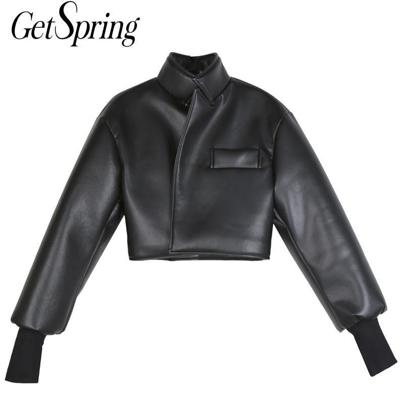 GETSPRING Women Coat Women Leather Coat Black Short Vintage Pu Leather Jackets Coats Casual Fashion Pu Jackets Tops 2020 Fashion