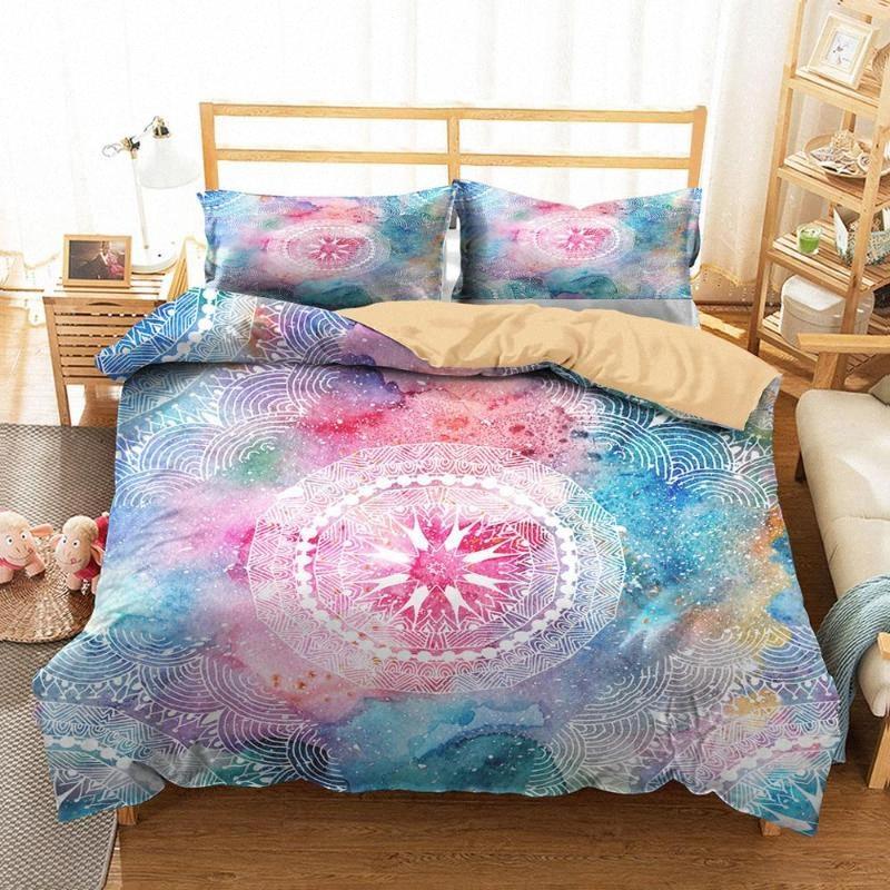 3D de cama Roupa Home Textiles Sonho Bohemia Mandala impresso capa de edredão com fronhas para adulto Rainha standard Tamanho evV1 #