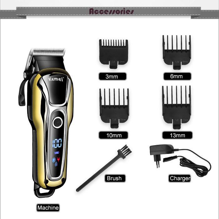 U dhzlstore Kemei Km1990 Saç Kesme Profesyonel Saç Kesme Erkekler Sakal Tıraş Makinesi Elektrikli Saç Kesme Lcd Monitör 0 Mm Kel Sakal Düzeltici 5