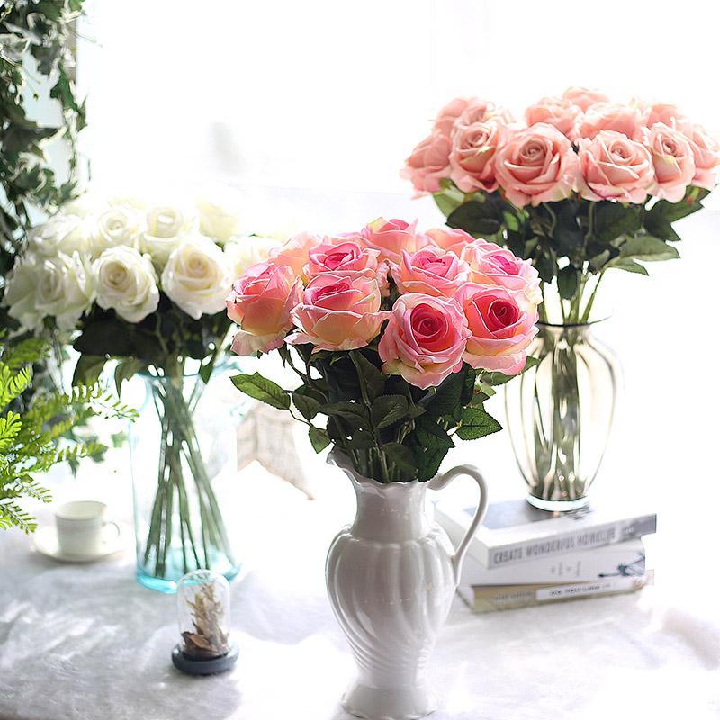 10PCS / lot زفاف الزينة المواد مسة حقيقية الاصطناعي الزهور روز باقة الرئيسية الطرف الديكور وهمية الحرير الجذعية واحد الزهور الزهور