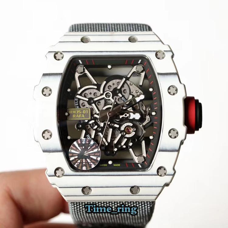 Z Top versión RM 35-01 Esqueleto Dial NTPT Movimiento automático de la fibra de carbono Sapphire RM 35-01 MENS Reloj de nylon Strap Designer relojes