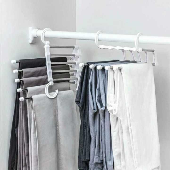 5 в 1 многофункциональный брюк для хранения брюк регулируемые брюки галстуки хранения полка шкафы организатор из нержавеющей стали вешалка для одежды