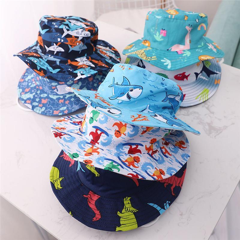 Mais novo Baby Bucket bonés Animais Imprimir Primavera Primavera Verão Meninos Meninas Bebê à prova de vento Sunhat Algodão Outdoors Travel Sun Chapéus Crianças Crianças Caps 2020