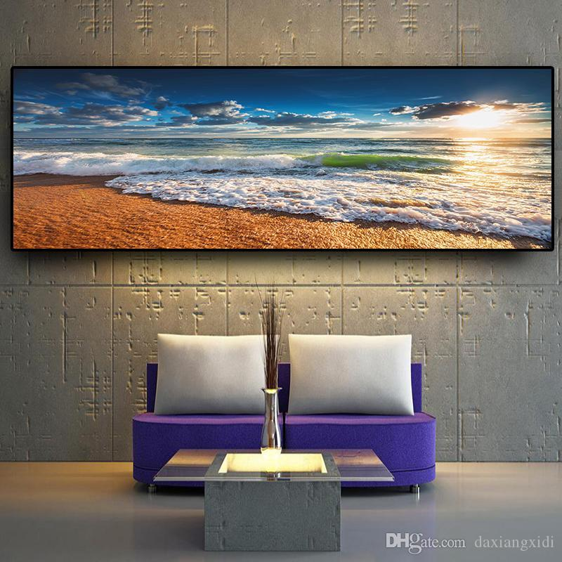 Natural Beach Sunset Landscape Posters and Prints Wall Art Pictures Painting Wall Art for Living Room Home Decor (No Frame)