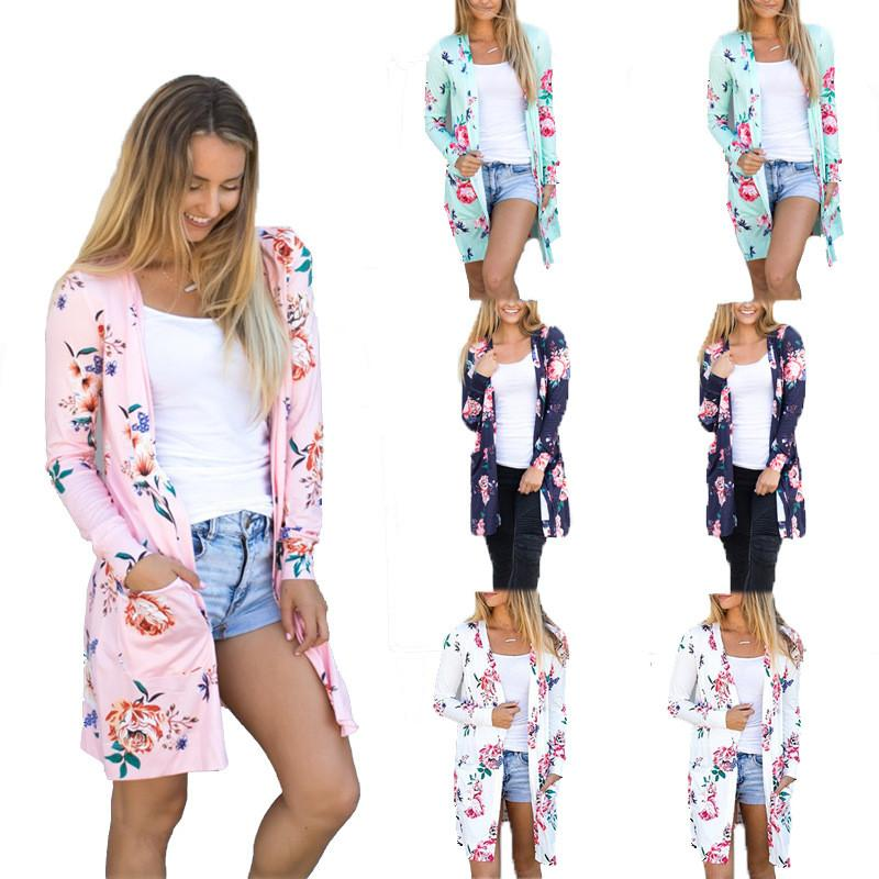 Autumn Long Cardigans 2020 Fashion Womens Flower Print Coat Casual Long Sleeve Blue Pink Female V Neck Cardigan Plus Size S-XXXL