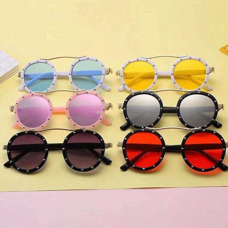 Moda bambini Steampunk bambini Occhiali da sole Retro rotonda Occhiali da sole per i ragazzi ragazze di marca Circolo degli occhiali di vetro UV400 19y3 #