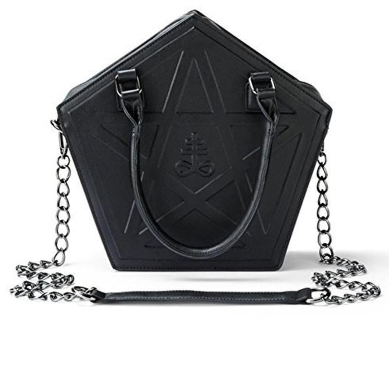 Zincir Yüksek Kalite Özellikleri ile JIEROTYX Pentagram Punk Karanlık Gotik Yıldız Çanta Kadınlar Kız Siyah PU Yumuşak Deri Omuz Çantası
