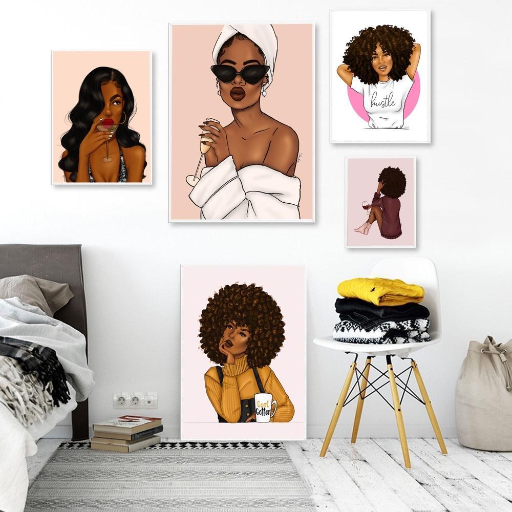 Retrato de la muchacha atractiva de la manera de la lona Pintura africana de las mujeres cartel e impresiones del arte abstracto cuadros de la pared de la sala de estar decoración del hogar