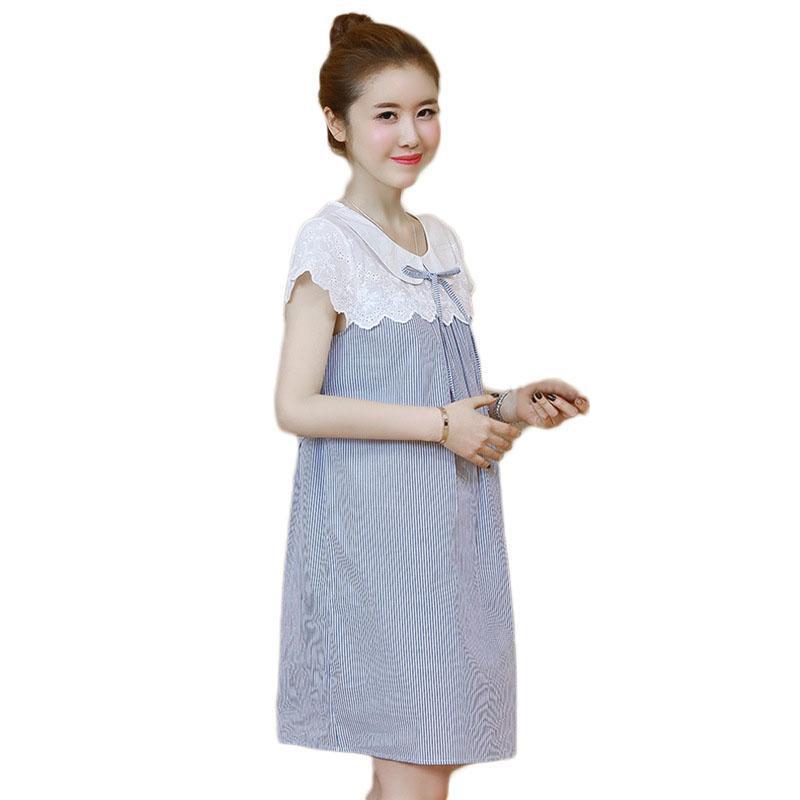 فساتين الأمومة للنساء الحمل اللباس الأزياء مخطط حامل زائد حجم القماش الملابس