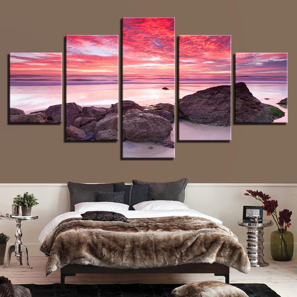 Pinturas Tela Wall Art Pictures Sala Quadro 5 Pieces Chama Sunset Glow Praia Seascape Impressão HD Posters Home Decor