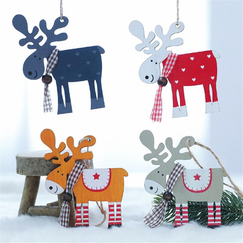 3PCS Arbre de Noël de renne en bois Décoration de Noël Ornements Elk Petit pendentif pour la maison Décoration de Noël # Party 3 hrg7 #