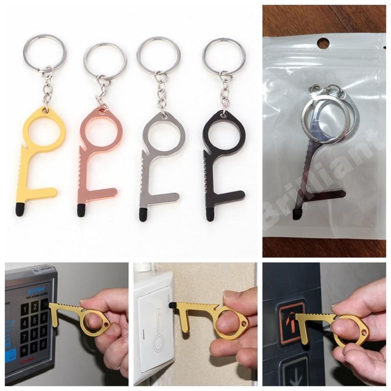 Kapı Açıcı Araçları EDC Kapı Closer Anahtarlık Dokunmadan Button Tool Temassız Basın Asansör Aracı Emniyet Kapı Açıcı ile opp Çanta DHL İzole
