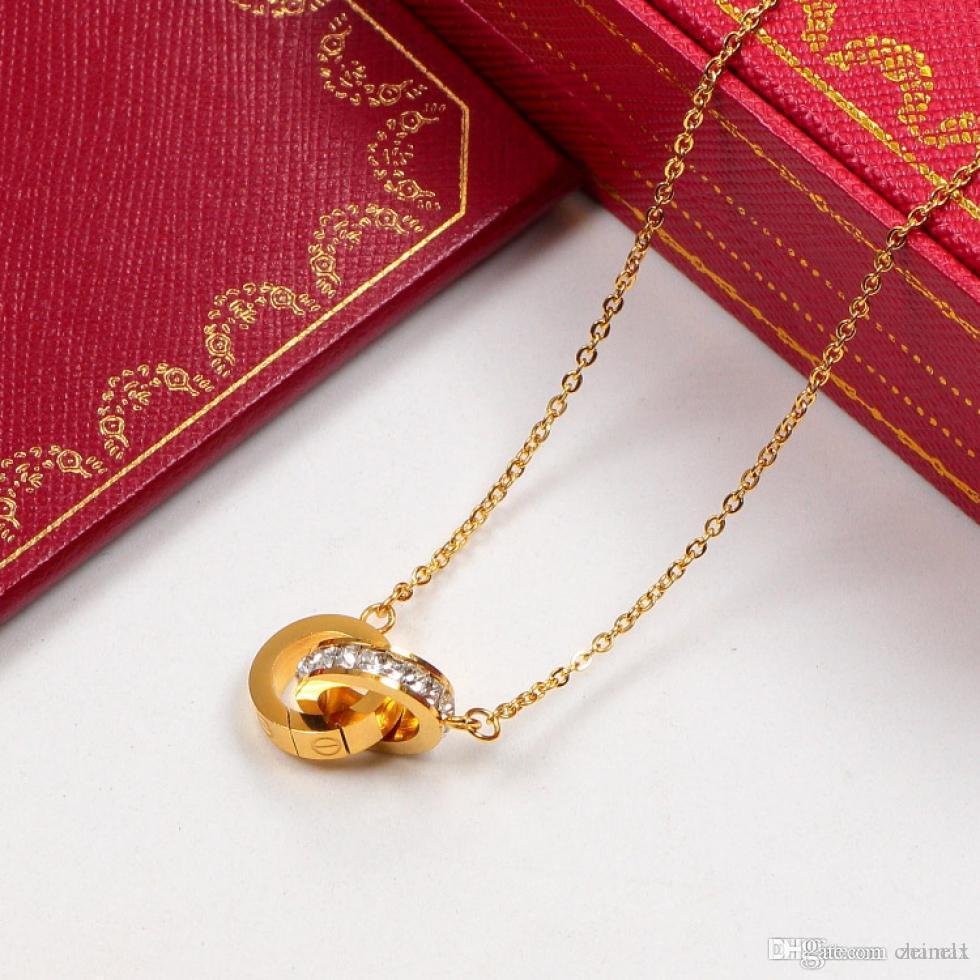 Orijinal kutu seti ile Kadınlar Vintage Yaka Kostüm Takı için taşla Çift Çember kolye Rose Gold Gümüş Renk kolye