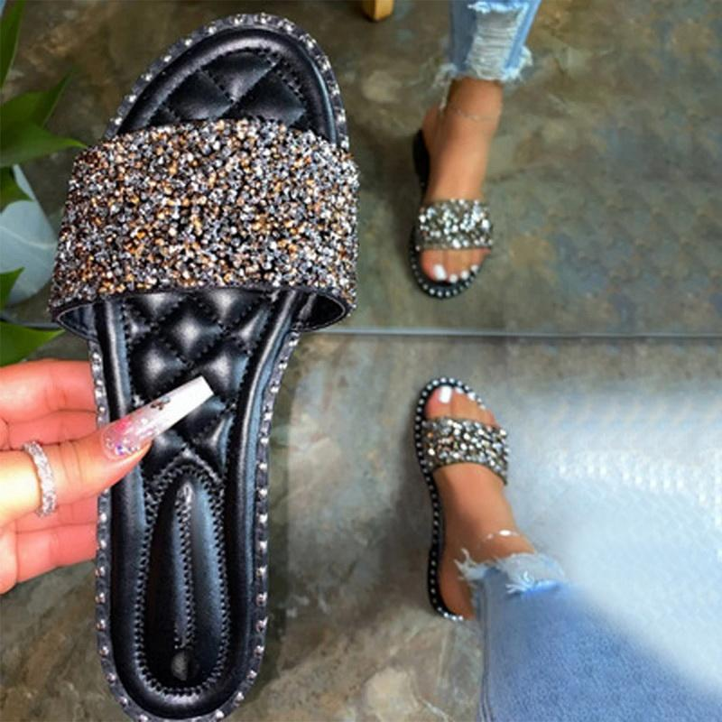 Тапочки Женщины Повседневной Блеск Rhinestone Кристалл лето Тапочки Rivet Покрытие Плоских Слайды Блестящей Главная Обувь Пляж