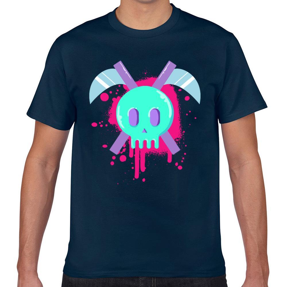 Hauts T-shirt Les hommes Yami pastel goth Kawaii crâne et scythe Geek de base d'impression noire Homme T-shirt XXX