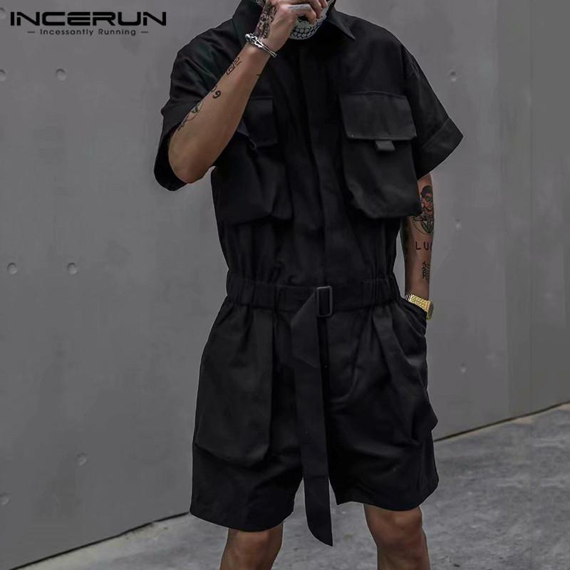 Uomini Elegante merci Tuta Streetwear multi tasche manica corta solido di colore tuta Chic Maschio i pagliaccetti Shorts S-5XL