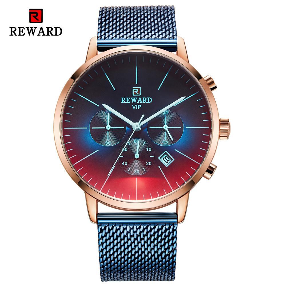 Вознаграждение Мужская мода Часы высокое качество бренда синий циферблат кварцевые часы из нержавеющей стали кожаный ремешок водонепроницаемый спортивный хронограф наручные