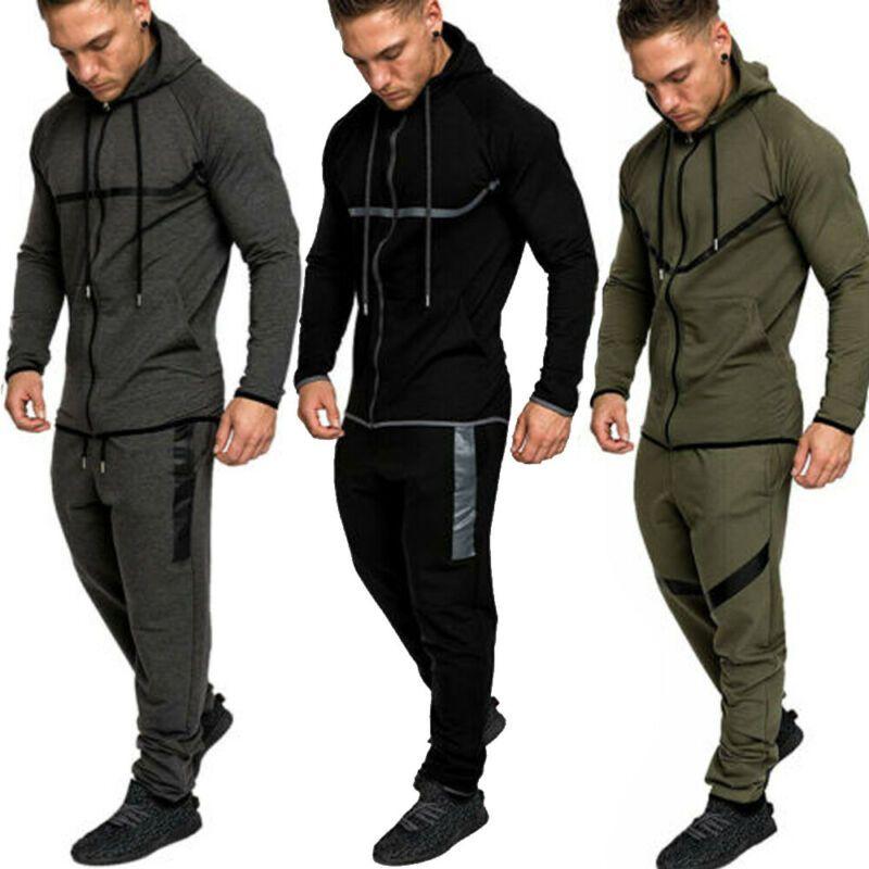 2020 en Survêtement à capuche veste chandail costume Set Pantalons Pantalons de jogging Gym Sport Trainning exercice Ensembles