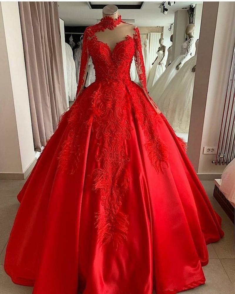 Palla abito rosso collo vestiti da alta Quinceanera 2021 vestidos maniche lunghe sposa Abito da sposa de 15 años vestidos