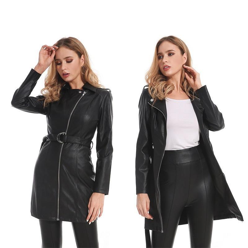 Delgados del invierno de la PU de la chaqueta de imitación de piel de las mujeres Classic Moto del motorista capa de la chaqueta de otoño Señora largo básico de cuero de las mujeres Outwear
