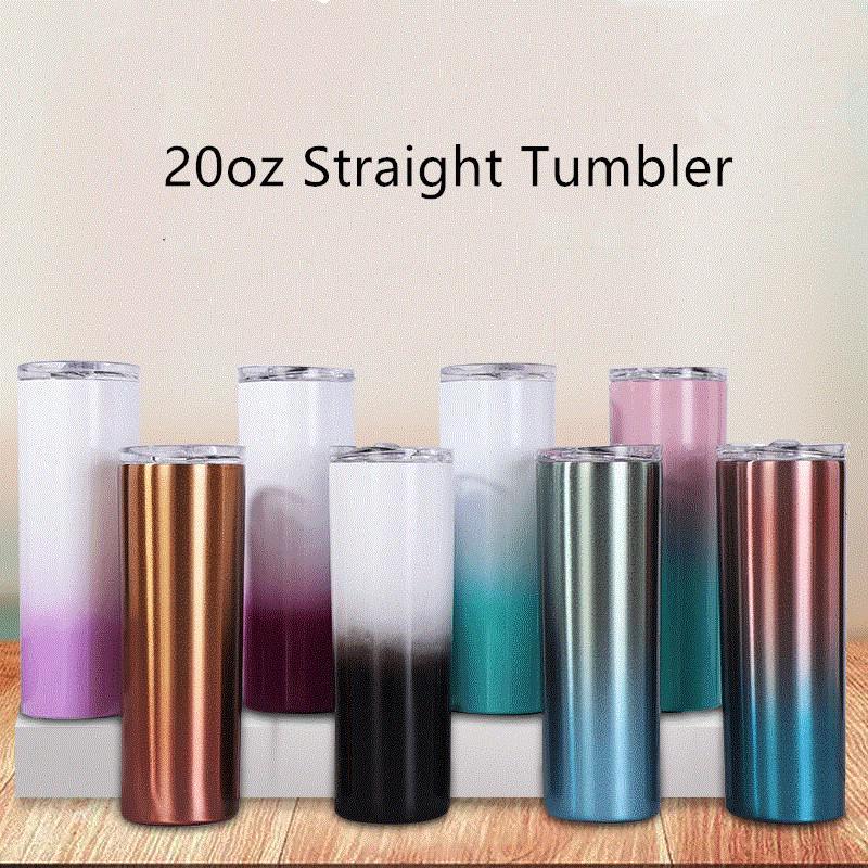 20 once gradiente bicchiere dritto stianless ventosa doppia parete acciaio isolata colorate ombre nottolini magre con coperchio A07