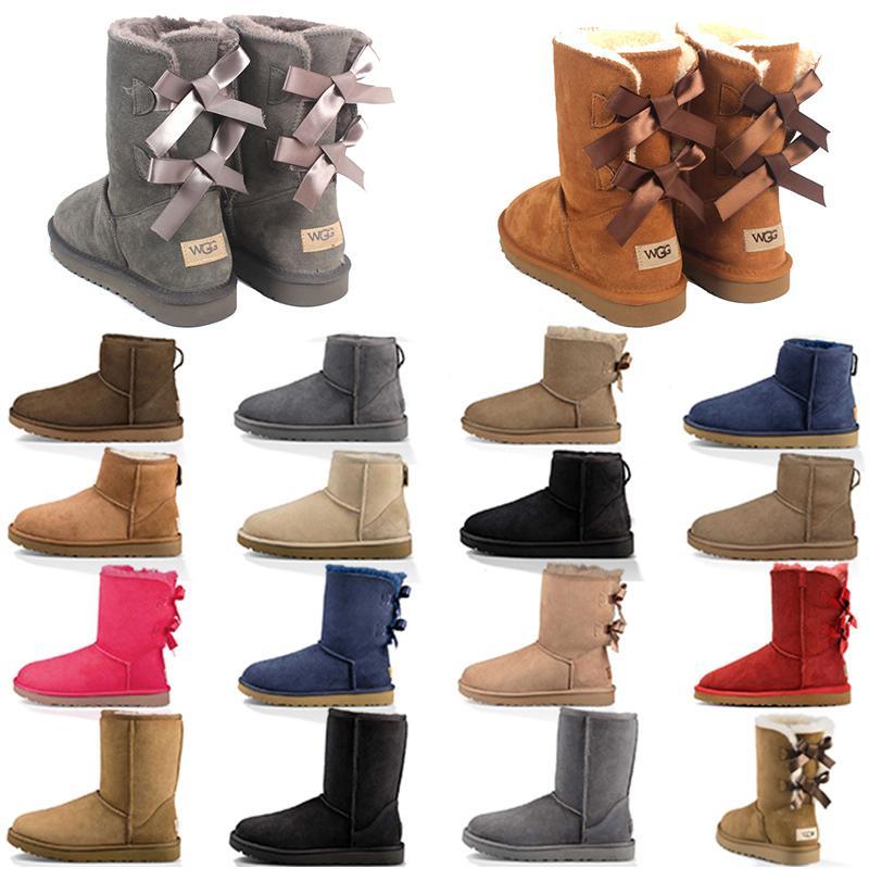 2021 новых прибытие женщин снега ботинок зимы способ ботинок классической мини лодыжка коротких дамы девушка женских пинетки серых каштановые темно-синий нам 5-10