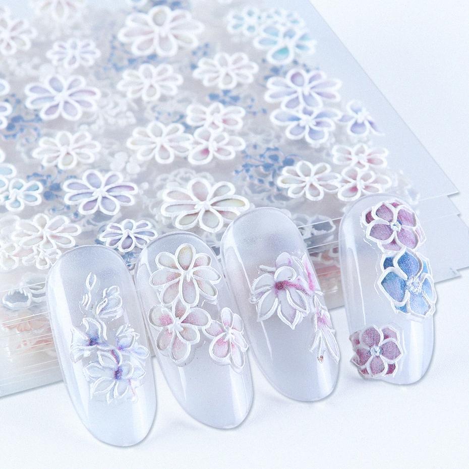 Белые цветы 5D Резные ногтей наклейки гравированные Лепесток Slider самоклеющиеся Таблички Nail Art Decoration Полная Wrap BE1019 ljs4 #