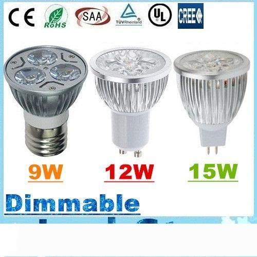 CREE 9W 12W 15W Led Spot bombillas E27 E26 B22 MR16 GU10 LEDDimmable enciende la lámpara de 12V CA 110-240V